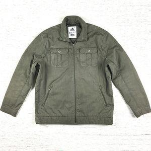 Adidas Jacket Army Green Zip Up Coat